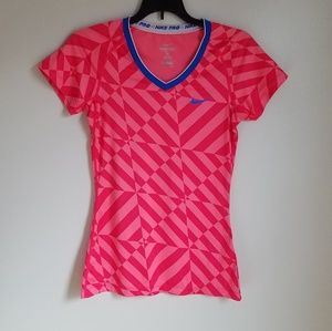Nike Pro Fit Fitted Short Sleeve Pink Soccer Shirt